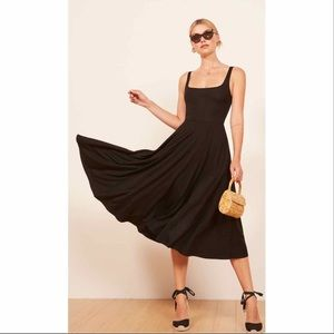 NWT Reformation Rou Black Tencel Midi Dress XS